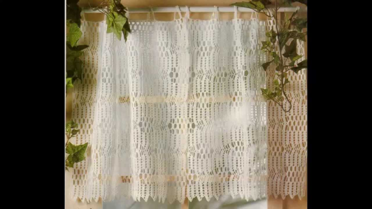 Como tejer cortina a punto calado crochet youtube for Modelos cortinas cocina