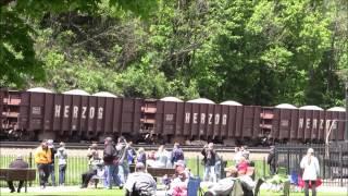 NS Herzog Ballast Train Notch 8 w/helpers at Horseshoe Curve