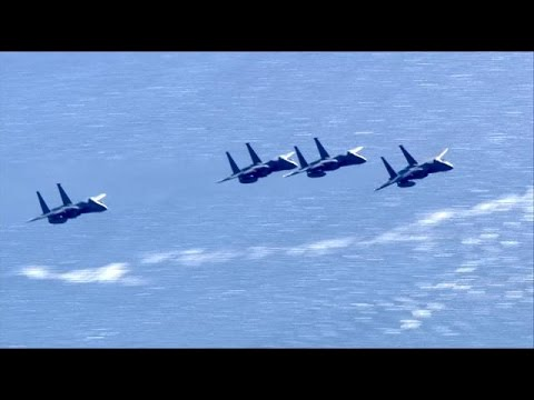 Raw Video: F-15's Fly Over Downtown Boston