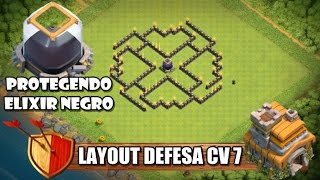 Layout Defesa CV 7 - PROTEGENDO ELIXIR NEGRO - Clash Of Clans 2016