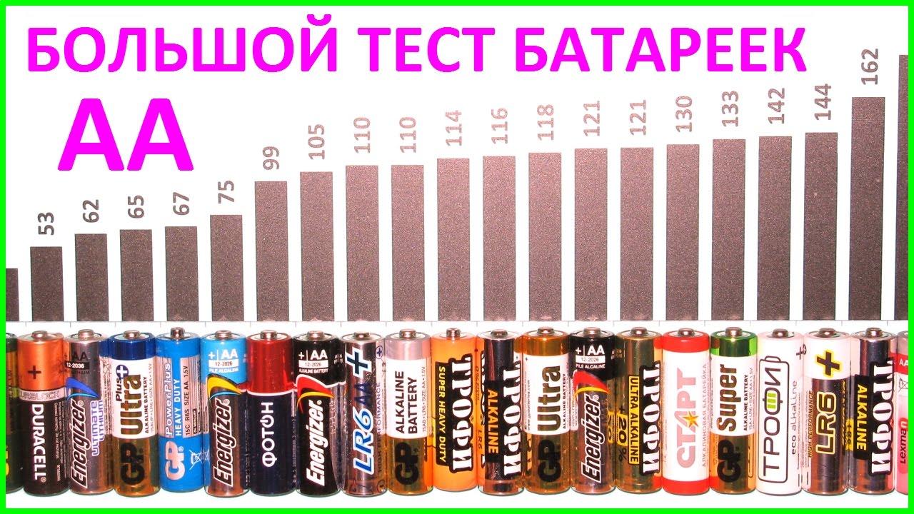 БОЛЬШОЙ тест батареек АА. Тестирование батареек формата AA. BIG battary cell test size AA R6 LR6.