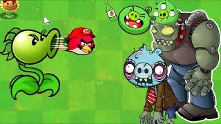 Angry Birds Peashooter VS DOCTOR ZOMBOSS BAD PIGGIES! Angry Birds PVZ Gameplay!
