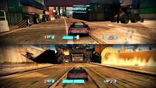 Split Second Gameplay PC | Split screen Racing at DRY DOCKS | 2 Players