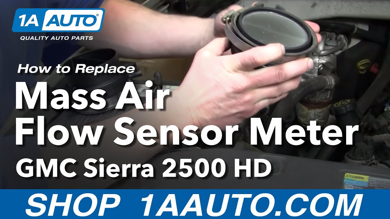 how to replace mass air flow sensor meter 01 06 gmc sierra 2500 hd
