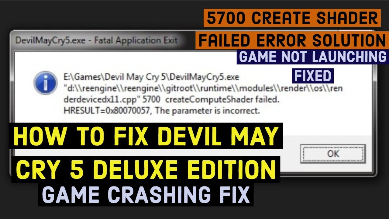 Devil May Cry 5 devicerender dx11 errorcrashing ,OTHERS ERRORS , CRASH,  BLACK SCREEN FIXED SOLUTION