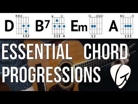 Chord Progression Practice - D B7 Em A - Swing and Jazz Style Easy Guitar Chords
