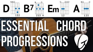 chord progression practice d b7 em a swing and jazz style easy guitar chords