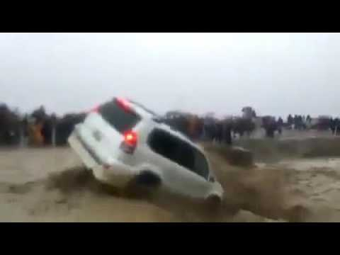 A Toyota Land cruiser Fell in the River During Rain in Chaman