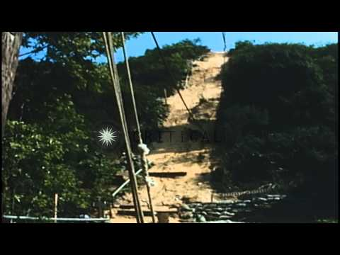 Harbor Patrol Command Post on top of mountain near Cam Ranh Bay, Vietnam. HD Stock Footage