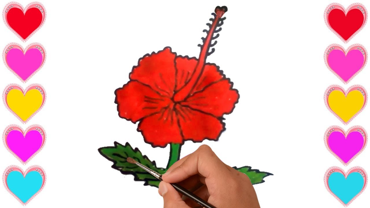How To Draw Paint A China Rose For Kidsdrawing China Rose Easily