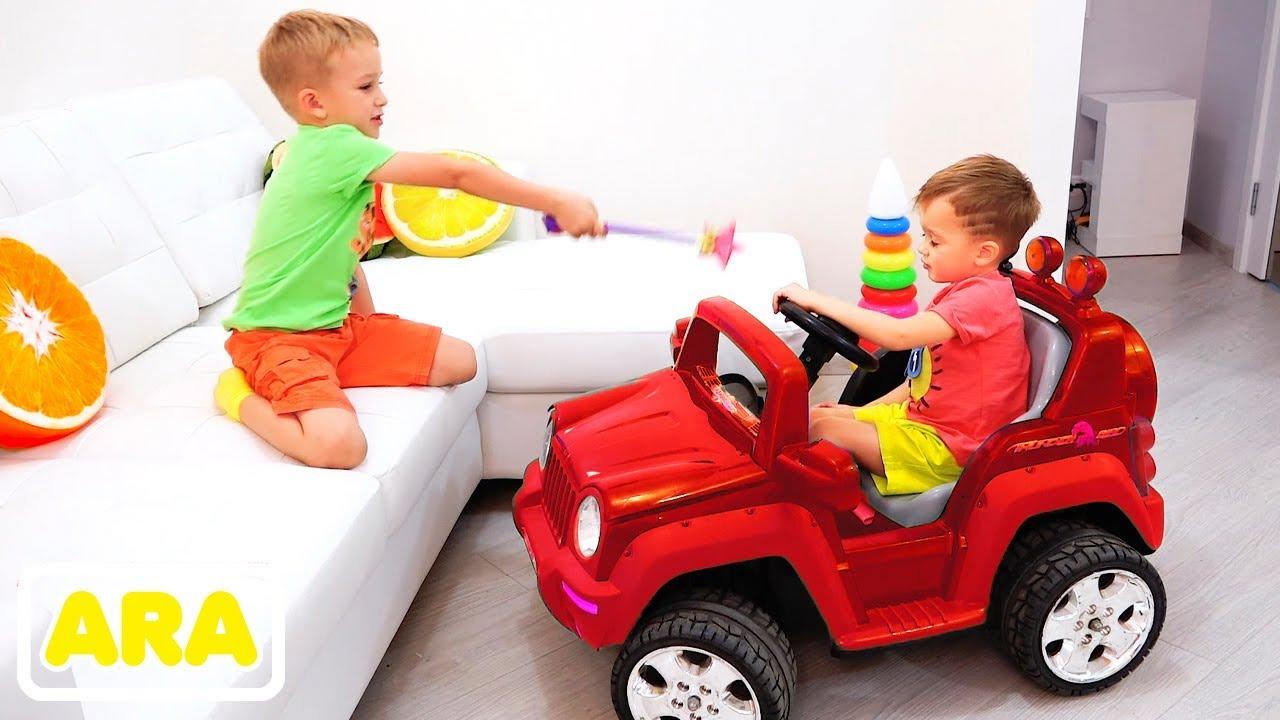 ركوب فلاد ونيكيتا على لعبة سيارات وتحويل سيارة للأطفال Youtube