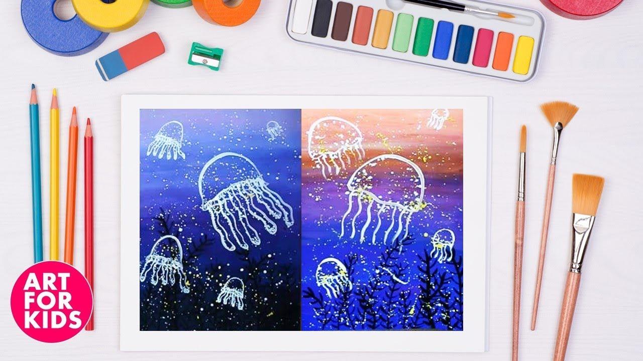 ✅ Dạy vẽ Sứa bằng màu Poster| Dạy bé vẽ | Dạy bé tô màu | How to draw Jellyfish by Poster color.