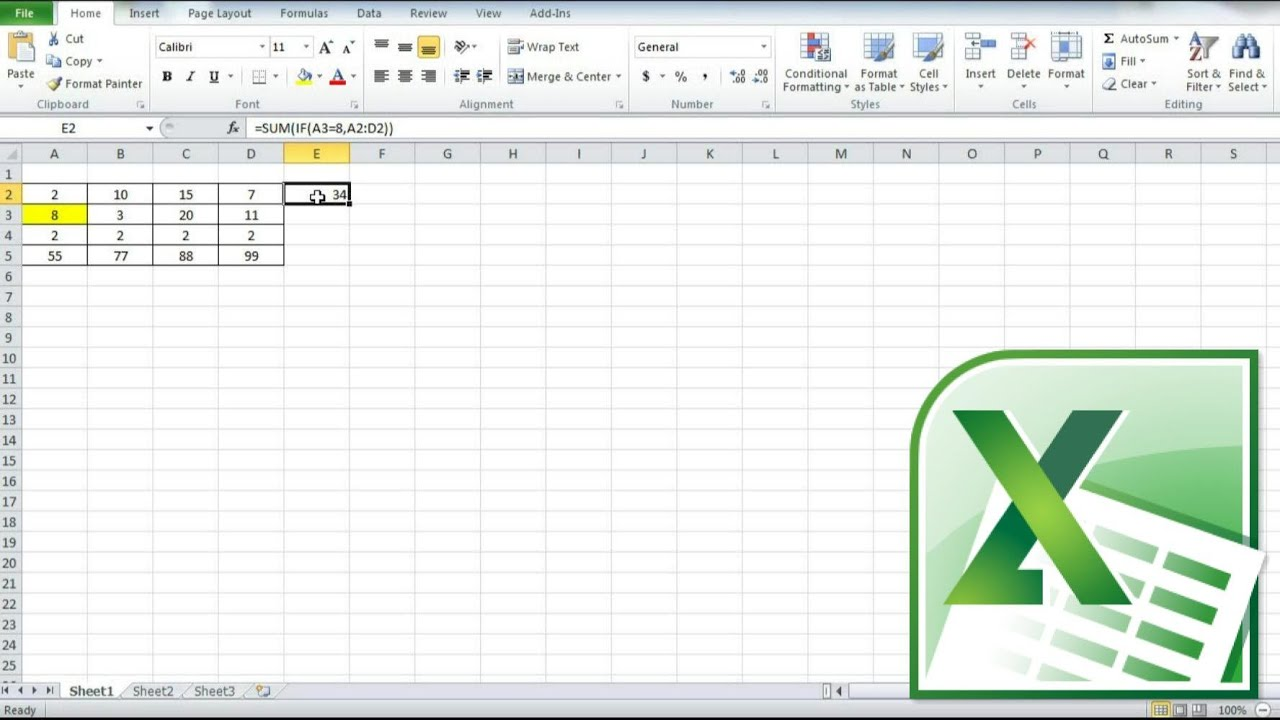 Excel SUM If Function, How To Sum Cell Range If A Cell Is