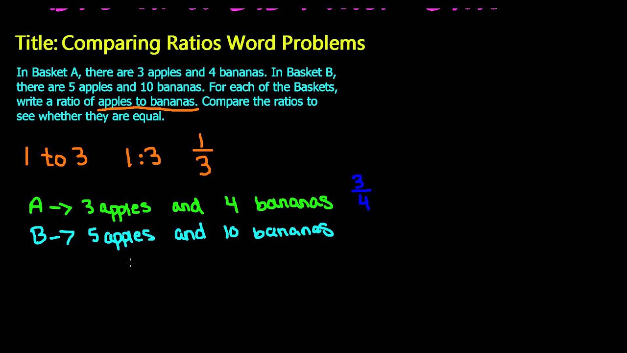 7th Grade Math - Compare Ratios by using Word Problem - YouTube