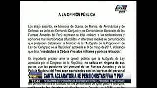 CARTA ACLARATORIA DE PENSIONISTRAS DE LAS FFAA Y PNP
