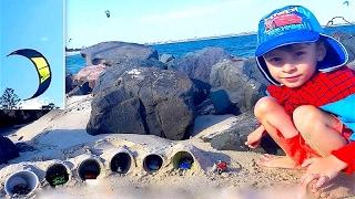 Гаражи из песка и пластиковых стаканчиков и Водный Серфинг с Парашютом Kiteboarding