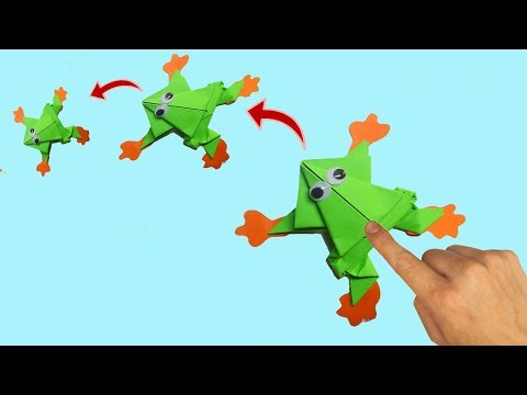 Paper frog Origami craft jumping frog EASY Origami