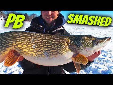 GREATEST Ice Fishing PIKE Day EVER!! (RARE GIANT CAUGHT!!)