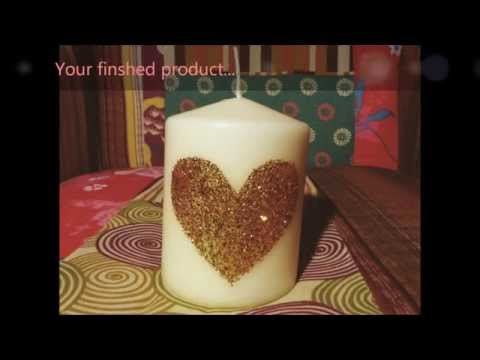 DIY Glitter Heart Candle! ♡