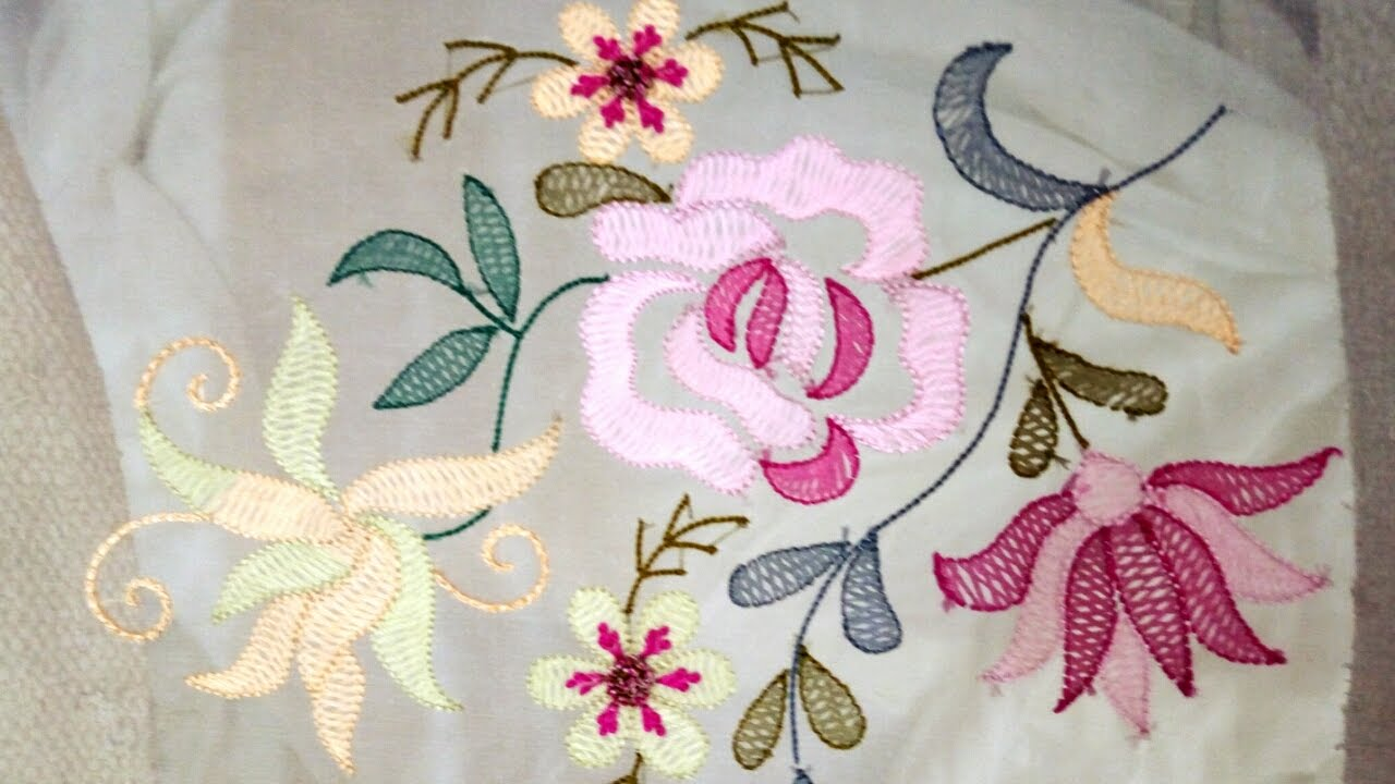 Hand Embroidery Shadow Embroidery Work With Silk Thread And French