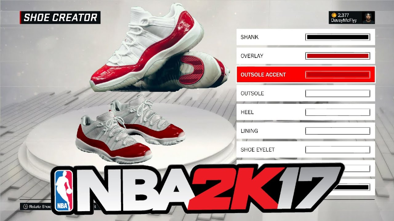 How To Make the Air Jordan 11 low Cherry's In NBA 2k17 Tutorial - YouTube