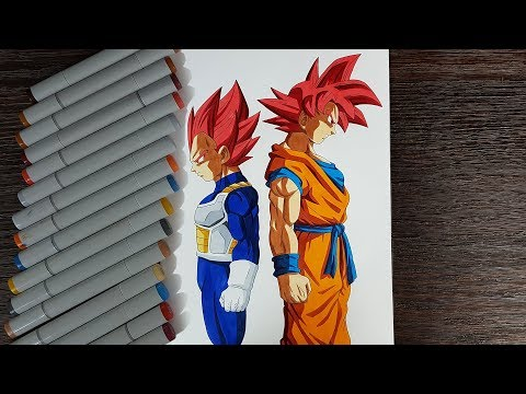 Drawing Goku and Vegeta Super Saiyan God