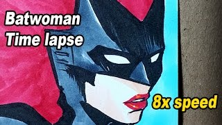 Traditional Art - Batwoman commission - Time lapse