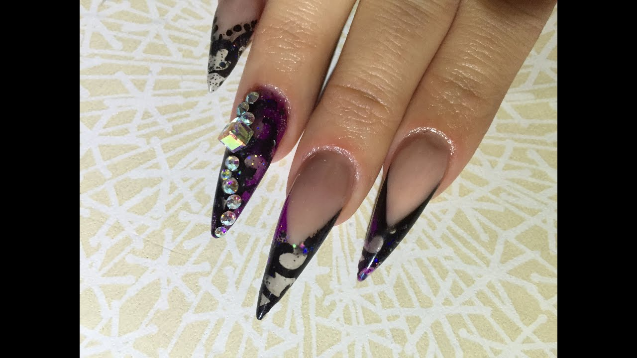 Stiletto Acrylic Nails | Black Lace | Nail Design - YouTube