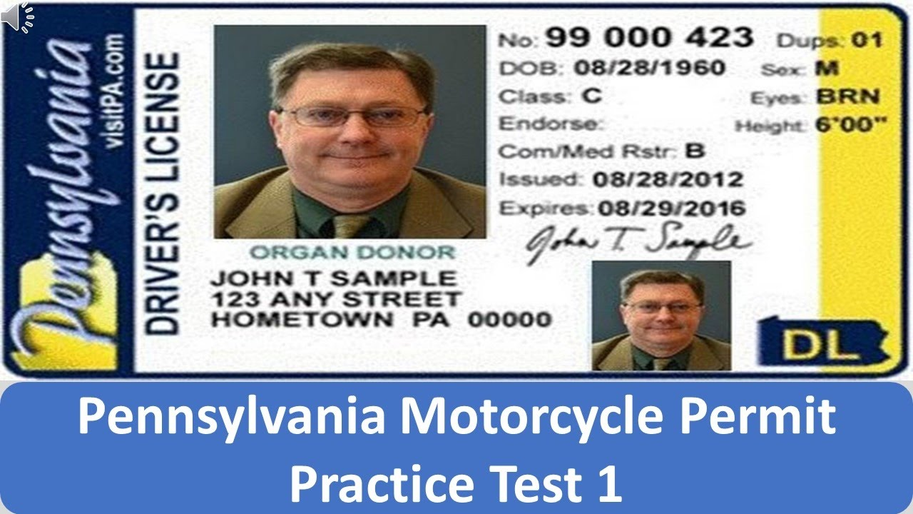 Pennsylvania Motorcycle Permit Practice Test 1