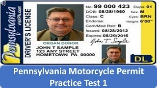 Pennsylvania Motorcycle Permit Practice Test 1