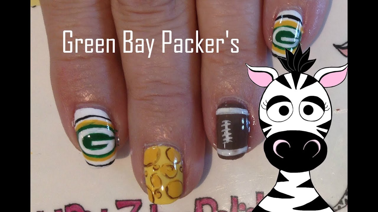 Green Bay Packers Nail Art Tutorial (REQUEST) - YouTube
