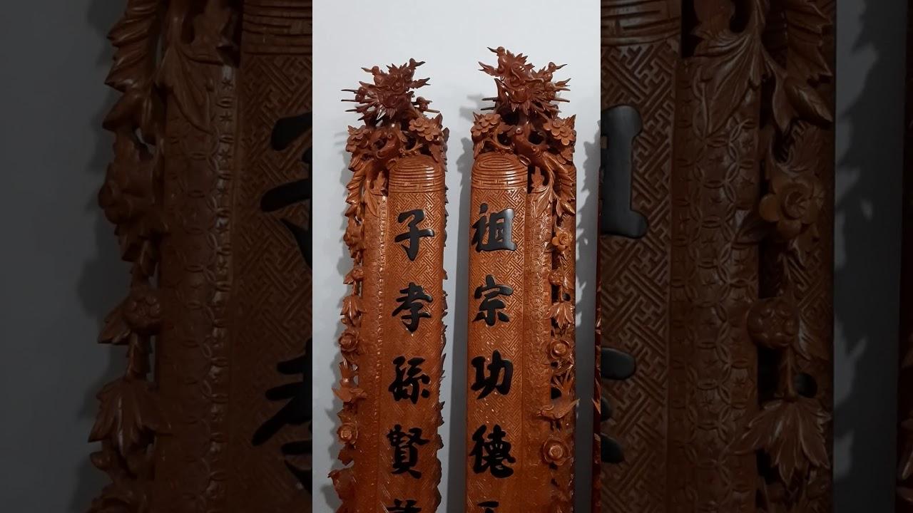 Đồ gỗ Đức Hiền cuốn thư câu đối gỗ gõ đỏ thếp vàng 27tr quý khách  Hữu Lũng Lạng Sơn đặt 06 04 2020