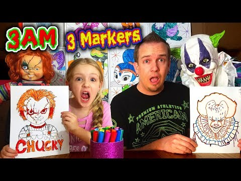 DO NOT 3 MARKER CHALLENGE at 3AM With CHUCKY vs PENNYWISE the CLOWN! *OMG* So Creepy!!!