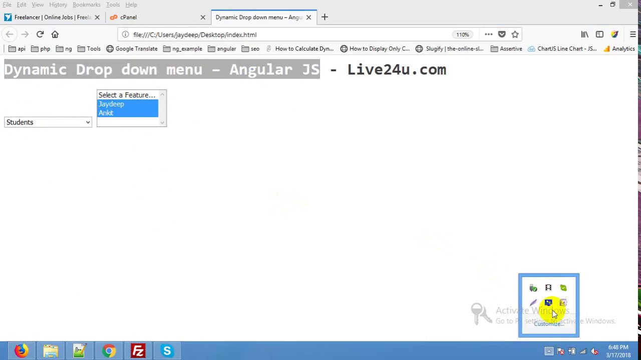 how to create dynamic dropdown in angularjs | Angular Dynamic Dropdown list