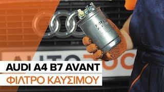 Τοποθέτησης Φίλτρο καυσίμων ντίζελ AUDI A4 Avant (8ED, B7): δωρεάν βίντεο