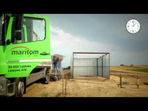 Montaggio del box auto in lamiera - www.maritom.it