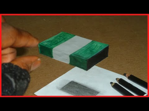 3D Nigeria flag easy drawing floating on paper Trick 3d art