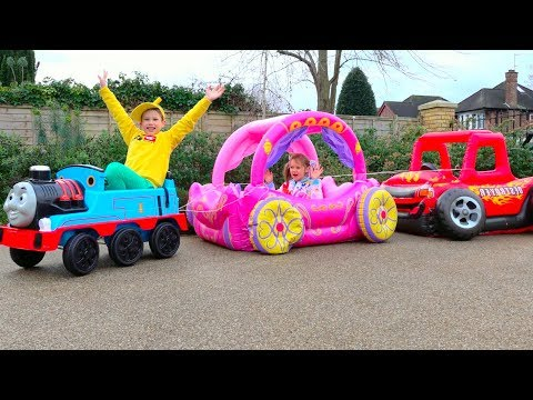 Katy and Max play with outdoor activities toys for kids