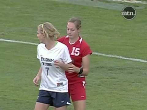 New Mexico Soccer player Elizabeth Lambert goes ape shit on BYU players!!! Move Bitch!!!