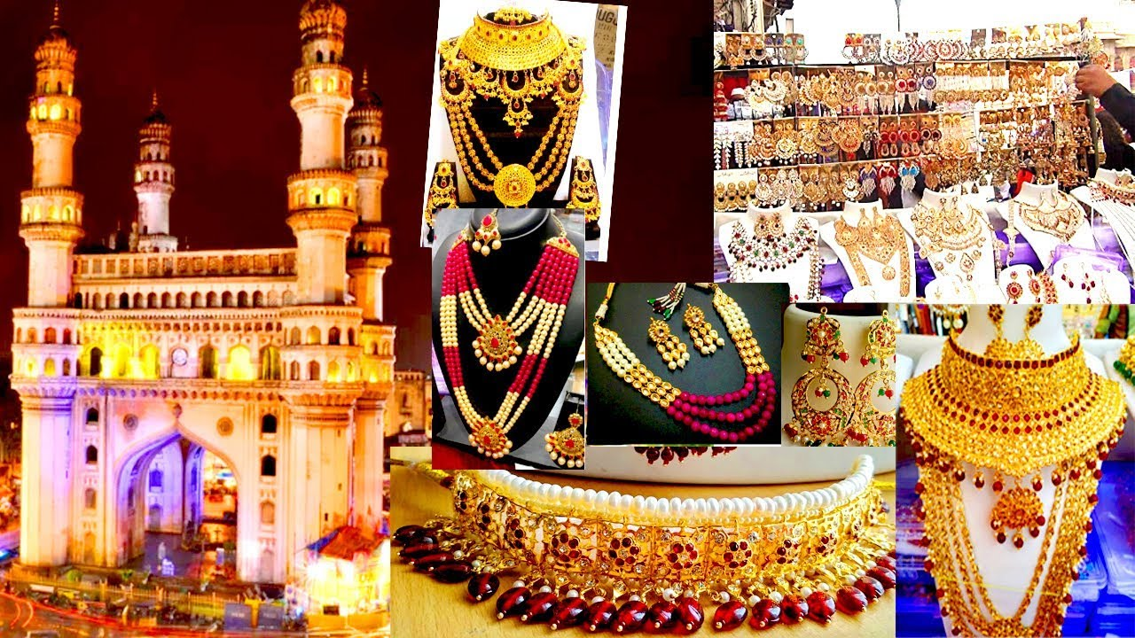Shopping at Charminar | Hyderabad street shopping | Bridal Jewellery/ Pearl Jewellery of Hyderabad - YouTube