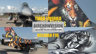 BELGIAN AIR FORCE 31 SQN. TIGER MARKED F16 MLU STATIC SHOTS (airshowvision HD)