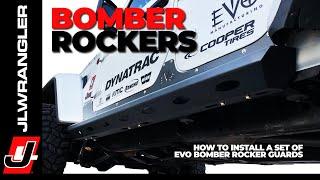 Jeep JL Wrangler Rock Sliders - EVO Bomber Rocker Guards with Body Armor Skins Installation