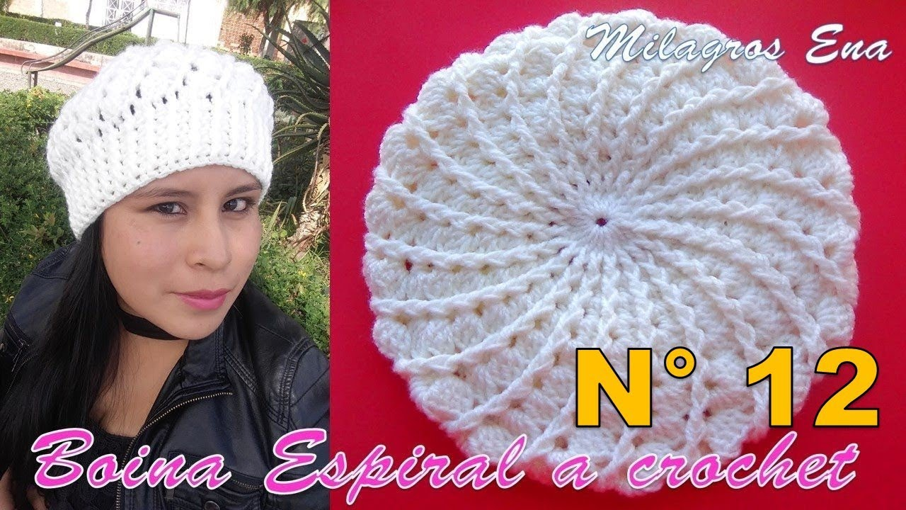 Boina a crochet en punto Espiral y relieves paso a paso en video tutorial 3f6d9a34388
