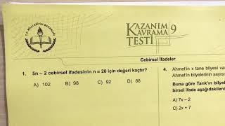 6.Sınıf Cebirsel İfadeler Soru Çözümü (MEB Kazanım Kavrama Testi)