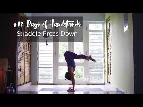 Straddle Press Down | Negative Press | YogaSlackers 12 Days of Handstands