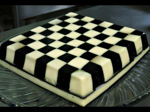 Gelatina tablero de ajedrez de yogurt y uva con jerez.- RecetasdeLuzMa