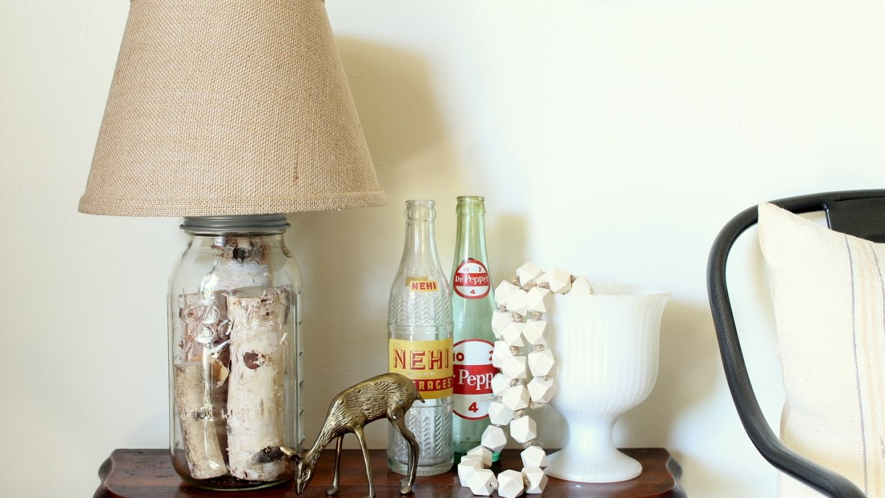 Glass Jar Lamp Shade Make A Mason Jar Table Lamp Youtube