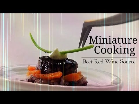 【Normal】 How to make Tiny food ミニチュア料理『Beef Red Wine Source 』【Quality】Miniature food cooking