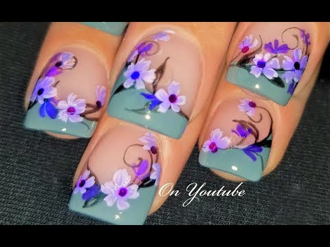 Hand Painted Flower Nails Romantic Nail Art Design Tutorial