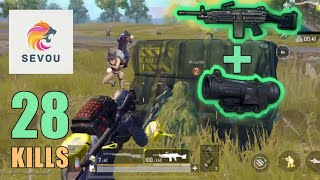 RAMBO + M249 + 6x Scope | 28 KILLS | DUO SQUAD | PUBG Mobile